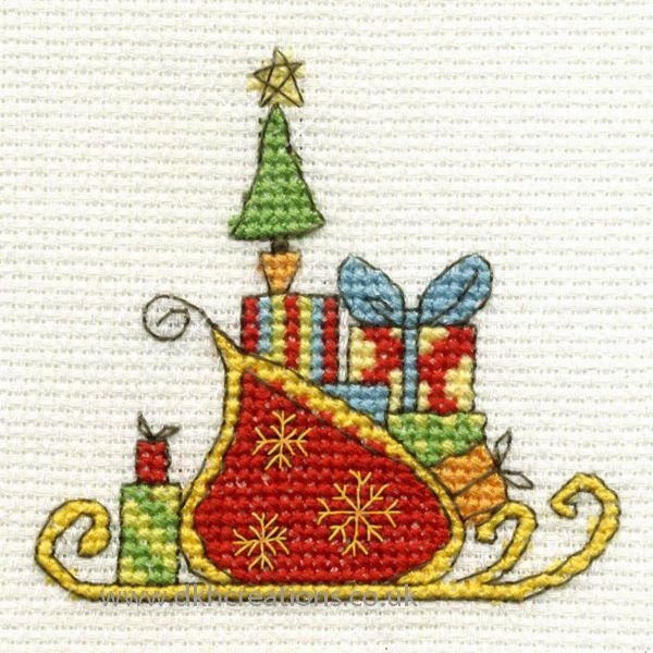 Sleigh With Gifts Mini Cross Stitch Kit